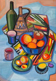 Still life with fruit in a vase and on plates. Still life with east a fabric and fruit Royalty Free Stock Photo