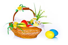 Still-life with Easter basket. Photo Easter basket with flowers Stock Photography