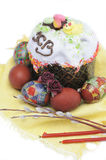 Still life. Easter cake and colored eggs Stock Photos