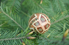 Still life with easter Easter eggs lying on fir-tree branches. Close-up, outdoors Stock Photos