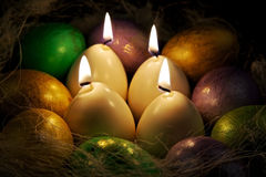 Still life with easter eggs and egg candles Royalty Free Stock Photography