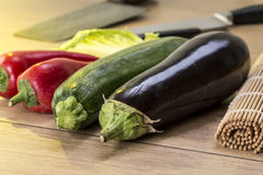 Still life with eggplant, zucchini Royalty Free Stock Images