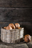 Still life eggs and basket composition Royalty Free Stock Photo