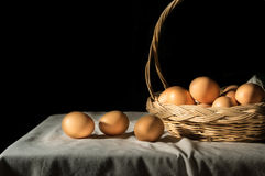 Still life eggs in basket. Stock Photography