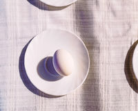Still life: eggs on a plate. On the fabric Royalty Free Stock Image