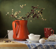 Still life with eggs and red jug royalty free stock photos