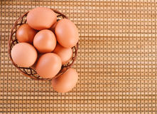 Still Life-eggs in wicker basket Royalty Free Stock Photos