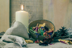 Still life elements spa candle stone Royalty Free Stock Photo