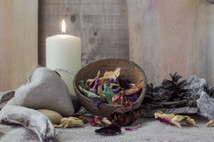 Still life elements spa candle stone Royalty Free Stock Photos