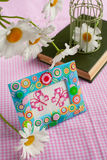 Still life with embroidered cross-stitch butterflies Royalty Free Stock Photo