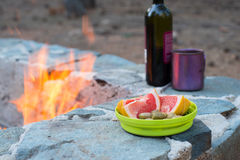 Still life at the evening campfire Royalty Free Stock Photography