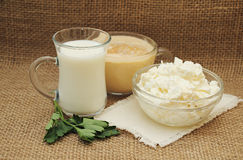 Still life with farm dairy products: milk, fermented baked milk, Stock Photography