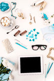 Still life of fashion woman,  blue objects on white. Still life of fashion woman,  top view of blue fashion woman objects on white. Concept of female mockup Royalty Free Stock Photo