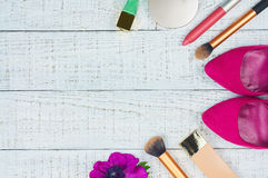 Still life of fashion woman. Modern female accessories. Feminine cosmetic background. Overhead of essentials fashion women objects. Top view Stock Images