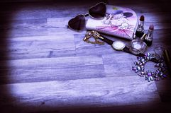 Still life of fashion woman, objects royalty free stock image