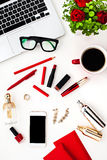 Still life of fashion woman, objects on white Royalty Free Stock Photos