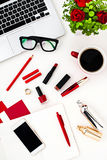 Still life of fashion woman, objects on white Stock Photos