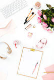 Still life of fashion woman, objects on white Royalty Free Stock Images