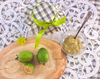 Still life with Feijoa puree and fresh berries Royalty Free Stock Image