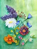 Still-life from field flowers. Colorful bouquet of watercolor on. Paper Royalty Free Stock Photos