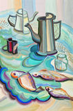 Still life with fish. Still life with coffee pot and fish Royalty Free Stock Photos
