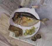 Still life with fish, grapes and bread. Still life with fish, grapes, and bread on a white plate, on newspaper on wooden table royalty free illustration