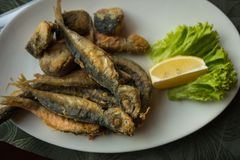 Still life with fish, lemon and herbs, selective focus royalty free stock photo