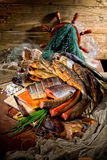 Still Life With Fish In Retro Style Stock Photos