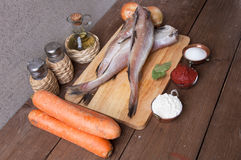 Still life with fish, vegetables and spices on a wooden board Stock Images
