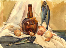 Still Life with Fish stock illustration