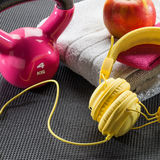 Still-life of fitness exercise, sport lifestyle and diet concept. Fitness exercise, sport lifestyle and diet concept - still-life of pink weight lifting, yellow stock photos