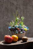 Still life with flower foxtail and fruits Stock Photo