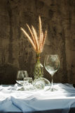Still life with flower foxtail weed in glass bottles Stock Photography