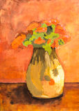 Still life flower vase acrylic painting Stock Image