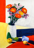 Still life flower vase color shapes acrylic painting Stock Images