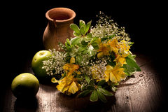 Still Life With Flowers And Apples Stock Image