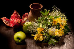 Still Life With Flowers And Apples Stock Photography