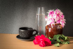 Still life Flowers with coffee Stock Image