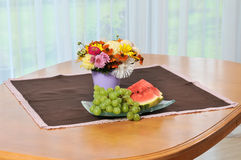 Still life with flowers and fruit Royalty Free Stock Photography