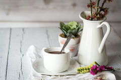 Still life of flowers in jar and cup with spoon Stock Photos