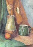 Still life: Flowers in Jug and Mug. Painting. Gouache on Paper Royalty Free Stock Photography