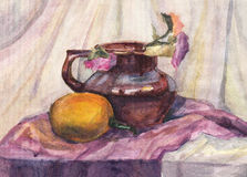 Still life: Flowers in Jug. Watercolor Painting Royalty Free Stock Photography