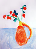 Still life with flowers - painted by child Stock Photo