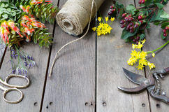 Still life of flowers and space concept on wooden table Royalty Free Stock Photography