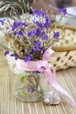 Still life with flowers in a transparent bank Stock Images