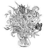 Still life with flowers. Still life with tulips, style of the old Dutch masters, Zentangle interpretation. Black and white. Vector illustration. The best for Royalty Free Stock Photos
