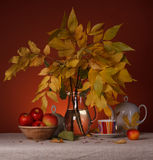 Still Life with Flowers and utensils for tea Stock Photo