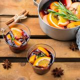 Christmas winter hot drink, mulled wine. Still life, food and drink, seasonal and holidays concept. Christmas new year winter hot warm beverage, mulled wine with Royalty Free Stock Photography