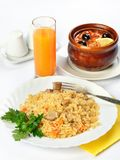 Still life of food with soup in pot and rice Royalty Free Stock Images