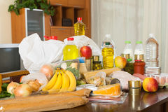 Still life with foodstuffs of supermarket. On the table in home stock photo